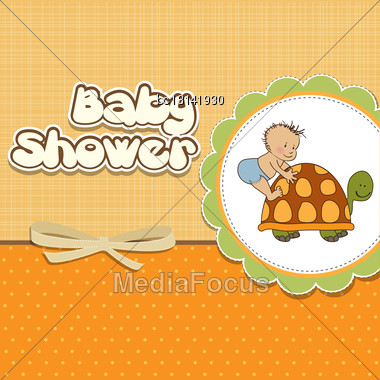 Funny Baby Boy Announcement Card Stock Photo