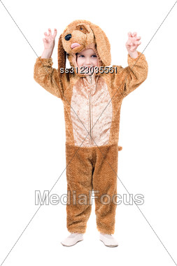 Funny Boy Dressed As Dog. Stock Photo