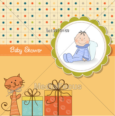 Funny Cartoon Baby Shower Card In Vector Format Stock Photo