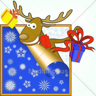 Funny Christmas Moose Stretches Gifts In Boxes Stock Photo