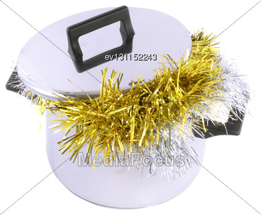 Funny Christmas And New Year-tinsel In Saucepan. Isolated Over White Stock Photo