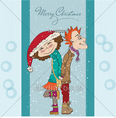 Funny Couple In The Winter, Christmas Card In Vector Format Stock Photo