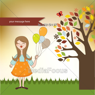 Funny Girl With Balloon, Birthday Greeting Card Stock Photo