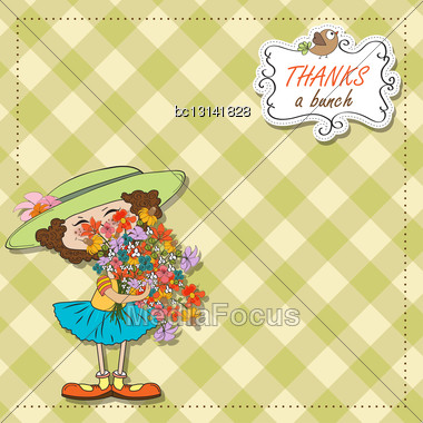 Funny Girl With A Bunch Of Flowers, Vector Illustration Stock Photo