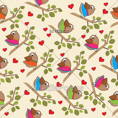 Funny Seamless Pattern With Dressed Birds, Vector Format Stock Photo