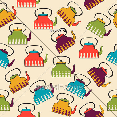 Funny Seamless Pattern With Kettles, Vector Format Stock Photo