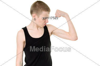 Funny Skinny Teen Shows Biceps Stock Photo