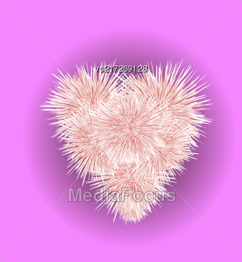 Fur Pink Heart Isolated On Blurred Background Stock Photo