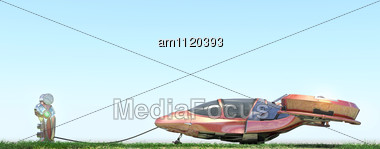 Futuristic Flying Car At Gas Station On Blue Background Stock Photo