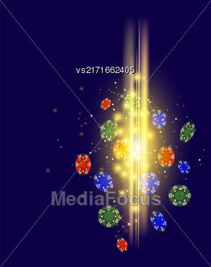 Gambling Plastic Colored Chips On Blue Background Stock Photo