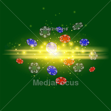 Gambling Plastic Colored Chips On Green Cloth Background Stock Photo