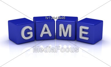 GAME Word On Blue Cubes Stock Photo