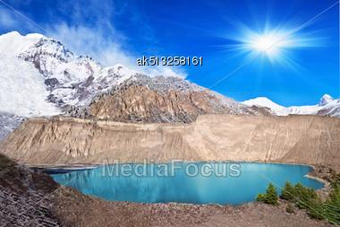 Gangapurna Lake, Annapurna Area, Himalaya, Nepal Stock Photo
