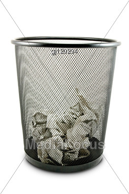 Garbage Bin With Paper Waste Stock Photo