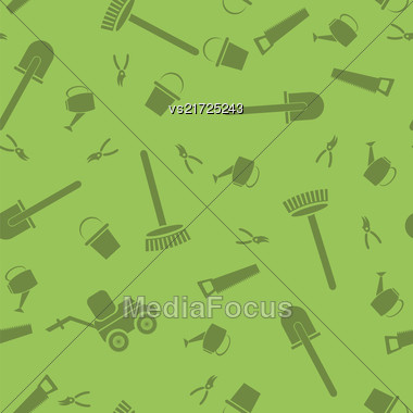 Garden Tools Silhouettes Seamless Pattern Isolated On Green Background Stock Photo