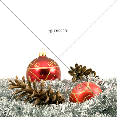 Garland With Pine Cones And Baubles Stock Photo