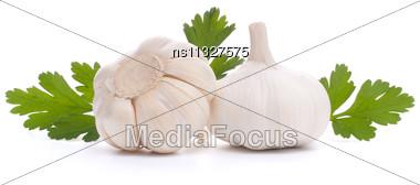 Garlic Bulb Isolated On White Background Cutout Stock Photo
