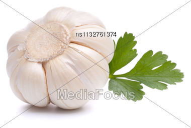 Garlic Bulb Isolated On White Background Cutout Stock Photo