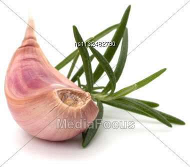 Garlic Clove And Rosemary Leaf Isolated On White Background Stock Photo