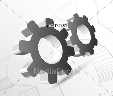 Gear With Drawing Vector Illustration On Light Background Stock Photo