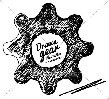 Gear Drawn Vector Illustration On White Background Stock Photo