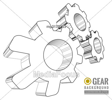 Gear Schematic Vector Illustration On White Background Stock Photo