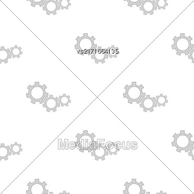 Gears Isolated On White Background. Seamless Gears Pattern Stock Photo