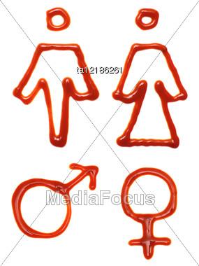 Gender Symbols Made Of Ketchup Stock Photo