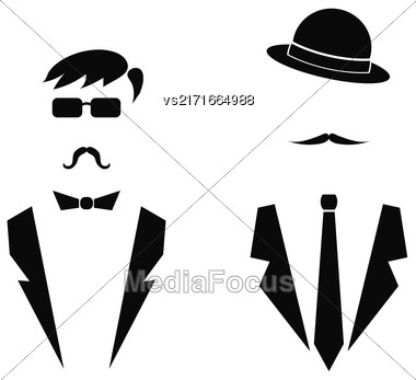 Gentleman Icons Isolated On White Background. Man Icons Stock Photo