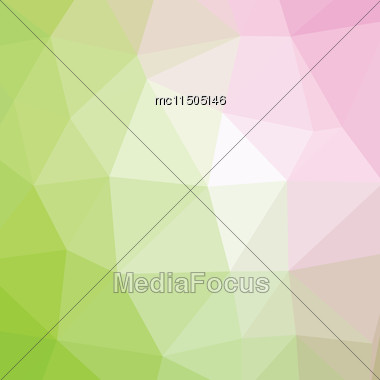 Geometric Abstract Pink And Green Low-poly Paper Background Stock Photo