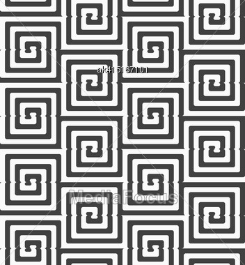 Geometric Background With Black And White Stripes. Seamless Monochrome Pattern With Zebra Effect.Alternating Black And White Cut Rounded Squares Stock Photo