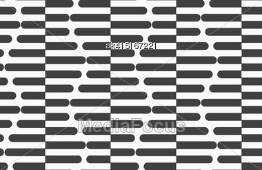 Geometric Background With Black And White Stripes. Seamless Monochrome Pattern With Zebra Effect.Alternating Black And White Cut In Half Hexagons Stock Photo