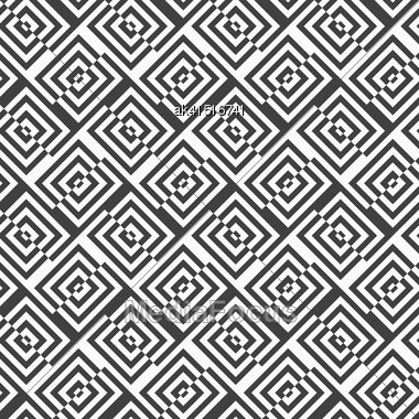 Geometric Background With Black And White Stripes. Seamless Monochrome Pattern With Zebra Effect.Alternating Black And White Diagonally Cut Squares With Turn Stock Photo