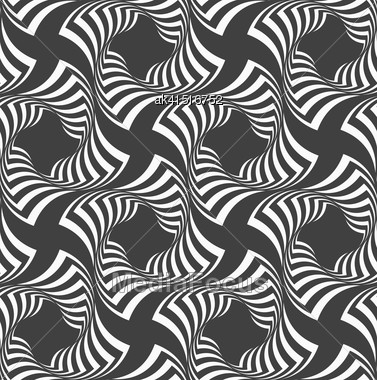 Geometric Background With Black And White Stripes. Seamless Monochrome Pattern With Zebra Effect.Alternating Black And White Wavy Striped Crosses Stock Photo
