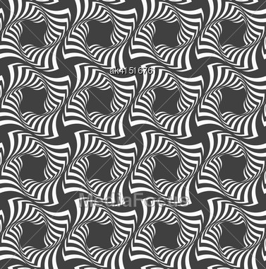 Geometric Background With Black And White Stripes. Seamless Monochrome Pattern With Zebra Effect.Alternating Black And White Wavy Striped Crosses In Row Stock Photo