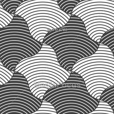 Geometric Background With Black And White Stripes. Seamless Monochrome Pattern With Zebra Effect.Alternating Black And White Wavy Squares Stock Photo