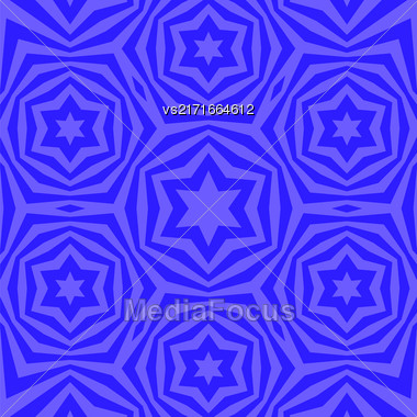 Geometric David Star Background. Ornamental Blue Pattern Stock Photo