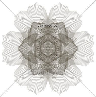 Geometric Ornament. Guilloche Rosette Isolated. Ornamental Round Decor Stock Photo