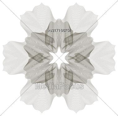 Geometric Ornament. Guilloche Rosette Isolated. Ornamental Round Decor Stock Photo