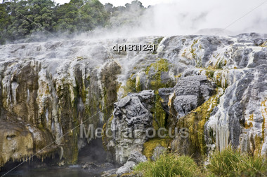 Geomorphic Hot Pools In Rotorua, New Zealand Stock Photo