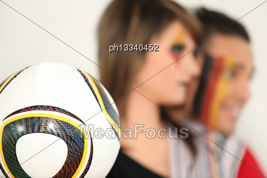 German Supporters With Soccer Ball Stock Photo