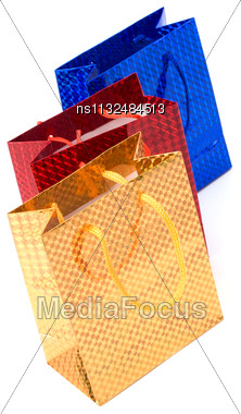 Gift Bags Isolated On White Background Stock Photo