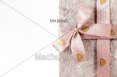 Gift Box With Ribbon On White Background Isolate Stock Photo