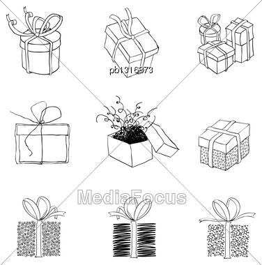 Gift Box For Xmas Designs. Set Of Nine Illustrations.Vector, EPS8 Stock Photo