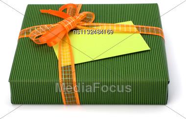 Gift Isolated On White Background Close Up Stock Photo