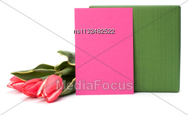 Gift With Pink Tulips Isolated On White Background Stock Photo