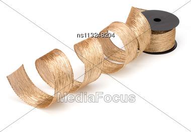 Gift Ribbon Bobbin Isolated On White Background Stock Photo