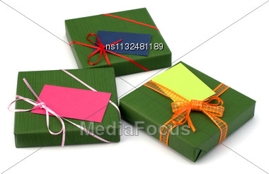 Gifts Isolated On White Background Close Up Stock Photo