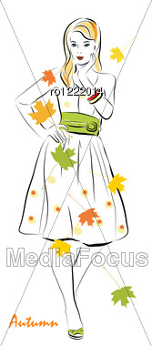 Girl And Autumnal Leaves Stock Photo