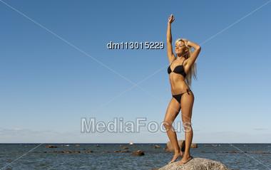 Girl In Bikini Posing On A Rock In A Deep Blue Sea Stock Photo